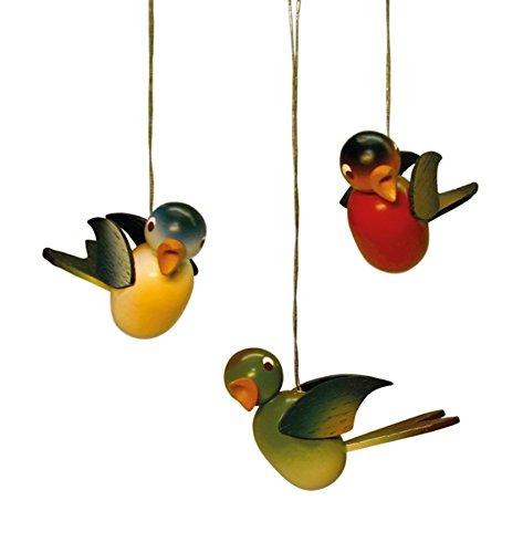 Vogel hängend farbig sortiert, 3 Stück im Karton Länge 4cm NEU Erzgebirge Christbaumschmuck Baumbehang