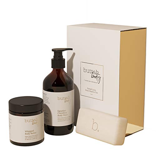 Buttah Skin by Dorion Renaud Buttah Body Trio for Melanin Rich Skin | Egyptian CocoShea Body Wash 10oz | Oatmeal Shea Bar 100g | Whipped Body Butter 4oz | Black Owned Skincare for Men & Women