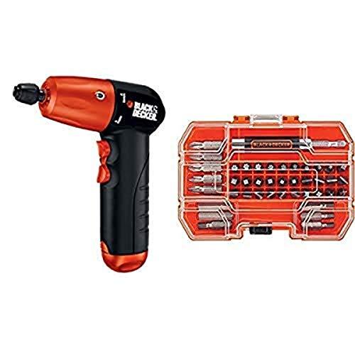 BLACK+DECKER AD600 6-Volt Alkaline 1/4-Inch Hex Cordless Drill/Driver wit with BLACK+DECKER BDA42SD 42-Piece Standard Screwdriver Bit Set