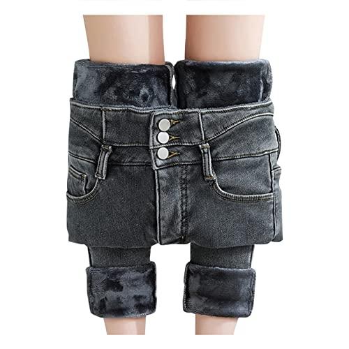 High-Waist-Jeans Damen Winter-Gefüttert High-Waist-Straight Hermo-Jeanshose: Lang Winterhose Damen Thermo Fleecehose Warm Leicht Outdoor Sporthose