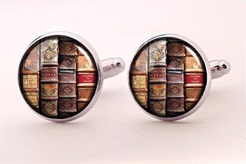 Gemelos de libros de So Many Books, regalo para marido, joyería de boda, gemelos de camisa, cabujón de cristal, gemelos para hombres, regalo para marido, arte