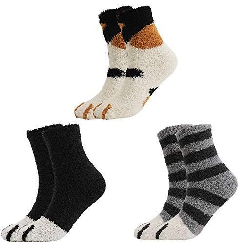QKURT 3 Paare Pantoffelsocken für Frauen-Mädchen, Winter-Innensocken Fuzzy Fluffy Home Socks Weiche nette Katze Claw Sleeping Socks
