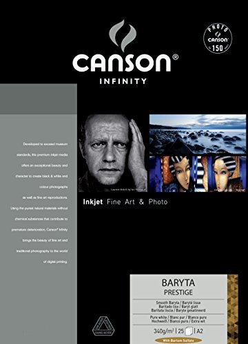 CANSON Infinity Baryta Prestige A2340GSM Smooth White Inkjet Papier (Box von 25Blatt)