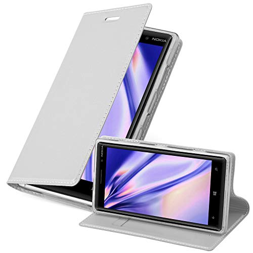Cadorabo Hülle für Nokia Lumia 830 in Classy Silber - Handyhülle mit Magnetverschluss, Standfunktion & Kartenfach - Hülle Cover Schutzhülle Etui Tasche Book Klapp Style