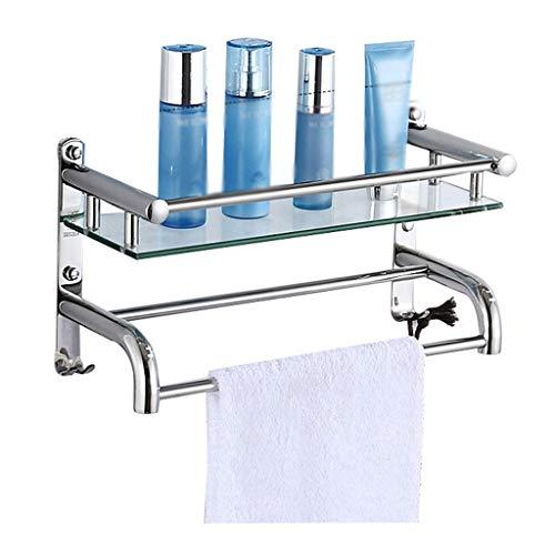 XJJZS Vidrio Templado Plataforma de baño con la Barra de Toalla montado en la Pared de Almacenamiento Ducha, Cepillado Final de Plata (Tamaño: 40 * 21 * 15 cm)