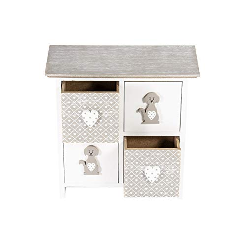 SPOTTED DOG GIFT COMPANY mini commode hout met 4 laden mini-kast met hondenmotief hondendeco cadeau voor meisjes dames vrouwen en hondenvrienden hondenliefhebbers hondenbezitter