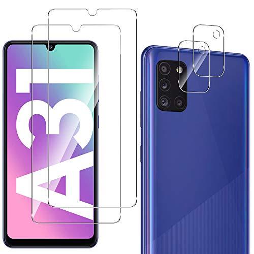 QULLOO 2 Pezzi Pellicola Protettiva per Samsung Galaxy A31 con 2 Pezzi Fotocamera Pellicola Protettiva, 9H Durezza Anti-Graffio Protezione Schermo in