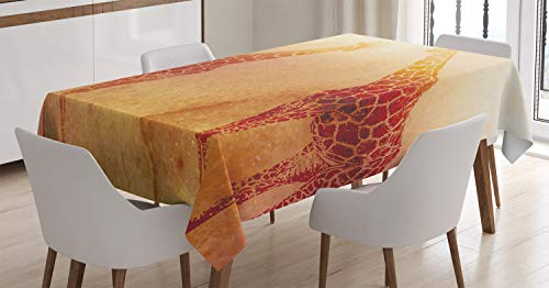 "Ambesonne Safari Tablecloth, Illustration Tropic Giraffes Tallest Neck Animal Mammal in Retro Vintage Print, Dining Room Kitchen Rectangular Table Cover, 60"" X 84"", Orange"