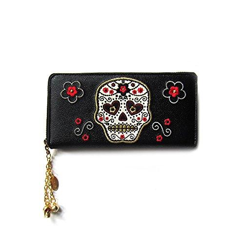 Banned–Mujer XL CARTERA Calavera–Flores Sugar Skull Tattoo Rockabilly Cartera