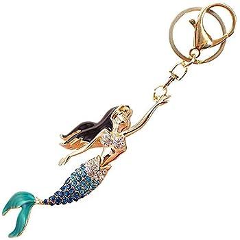 Pretty Mermaid Sparkling Charm Blingbling Keychain Crystal Rhinestone Pendant (Blue)