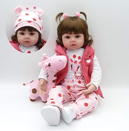 Pinky Reborn Muñecas 18Inch 45cm / 22Inch 55cm Reborn Baby Doll Realista Silicona Suave Vinilo Bebe Reborn Girl Dolls Juguetes para niños Regalos de cumpleaños (18Inch)