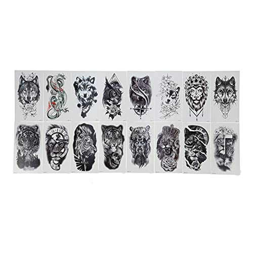 16 hojas de calcomanías de Attoos, pegatinas de tatuaje temporal con patrón de animales, patrón transparente natural y realista, resistente al agua y al sudor, fácil de limpiar, resistente al agua par