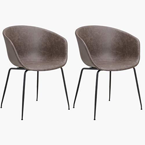 Confort24 Graz set met 2 stoelen, eetkamer, kantoor, design AAC22 Hay bruin, voeten van metaal, replica