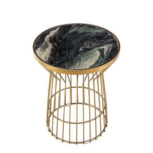 ZR- Edelstahl Marmor Tischplatte, Sofa Beistelltisch Rose Gold Round/Small Couchtisch - Wanddekoration (Farbe : Landscape Green)