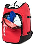 APESNOIC Ski Boot Bag and Backpack Waterproof Ski and Snowboard Boots Travel Bag for Ski Helmet, Goggles, Gloves, Skis, Snowboard & Accessories. (B-RED)