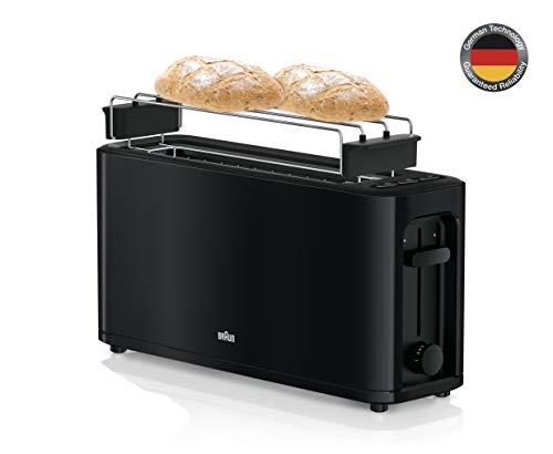 Braun HT 3110 BK Toaster | Langschlitz | Extrabreite Toastkammer | Herausnehmbare Krümelschublade | Aufwärm- und Auftaufunktion | 7 Röstgrade | Separater Brötchenaufsatz | Schwarz
