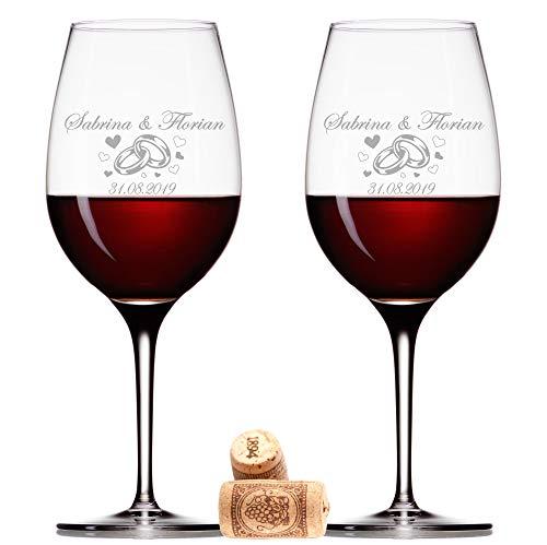 FORYOU24 2 Leonardo Weingläser mit Gravur des Namens und Motiv Ringe Wein-Glas graviert Hochzeit Geschenkidee