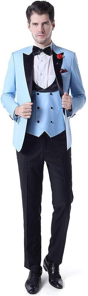 Men Suits 3 PCs(Jacket+Pants+Vest) Peak Lapel Slim Fit Blazer Wedding Prom Grooms Tuxedo Plus Size