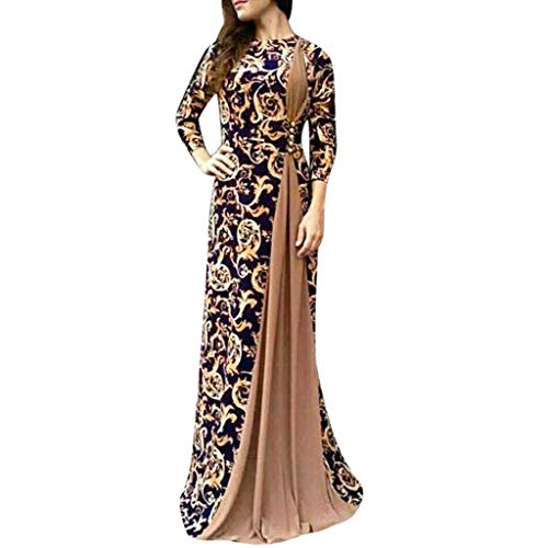 Benbzh Abito da Donna con Stampa Floreale Araba Dubai Lungo Vestiti Estivo Abito Musulmano Manica Lunga Autunno Islamico Elegante Lungo Vestito Cocktail Vestiti Estivo Casuale Abiti