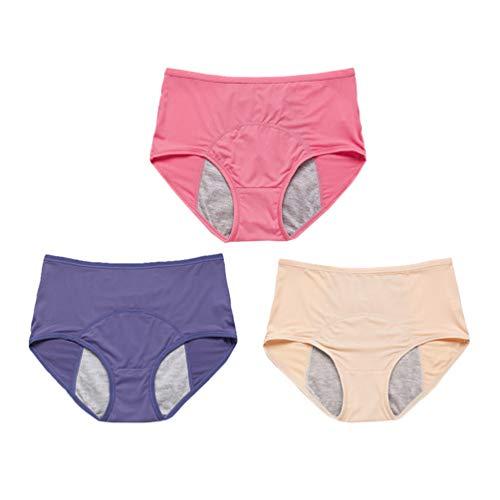 EXCEART 3 Pcs Menstruele Briefs Menstruatie Broek Lekvrije Fysiologische Broek Verdikte Comfortabele Menstruele Ondergoed Menstruatie Ademende Underpants Voor Vrouwen Meisjes 3XL