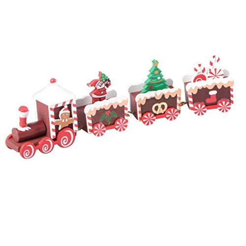 Happyyami Christmas Train Ornaments Santa on a Train Toy Wood Mini Train Christmas Tabletop Ornaments Kids