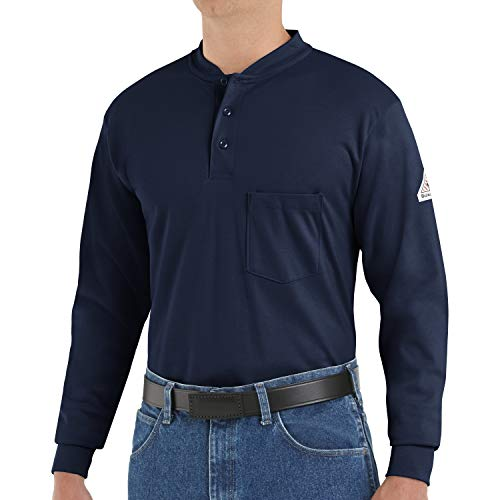 Bulwark Men's Flame Resistant 6.25 oz Cotton Long Sleeve Tagless Henley Shirt, Navy, Large/Tall