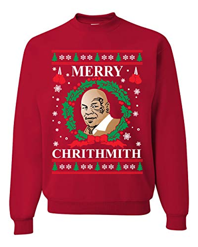 Merry Chrithmith Mike Tyson Ugly Christmas Sweater Unisex Crewneck Sweatshirt, Red, X-Large