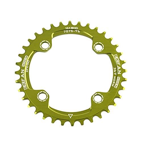 MENGGOO Sprocket de Bicicleta 104BCD Verde 32T / 34T / 36T Redondo Ciclo de Bicicleta Oval Rowwheel 7075-T6 MTB Círculo de Bicicleta Circle Plato (Color : 36T Green Round)