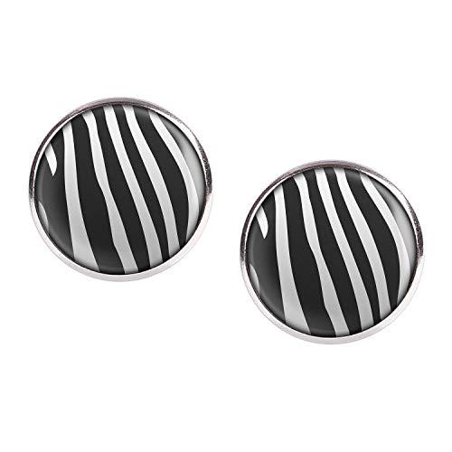 Mylery Ohrstecker Paar mit Motiv Zebra Zebra-Muster gestreift schwarz weiß silber 16mm
