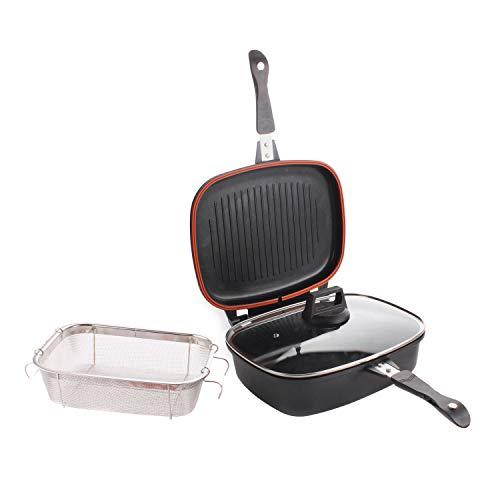 KASANOVA Set 4 Pezzi Fornetto Multi Oven - Costituito da 1 Padella Alta da 32 cm, 1 Bistecchiera da 32 cm, 1 Coperchio in Vetro e 1 Griglia in Acciaio - Rivestimento antiaderente - Colore Nero