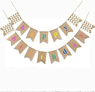 Separate 2 Strands,Happy Birthday Bunting Banner Flags,Rustic Burlap Banners Swallowtail Shaped Bunting Flag Vintage Cloth Shabby Chic Decoration for Retro Birthday Party (HBD 17pcs)