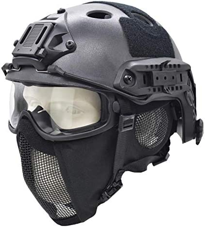 Tactical Fast Helmet with Ear Protection Foldable Half Face Airsoft Mesh Mask and Tactical Goggles product image