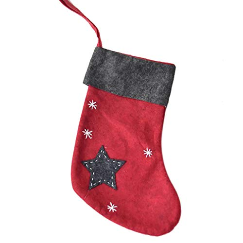 Yunzee Christmas Holiday Stockings Christmas Hanging Bags Felt Xmas Tree Decorations Santa Srar Gift Treat Bag,Red Star
