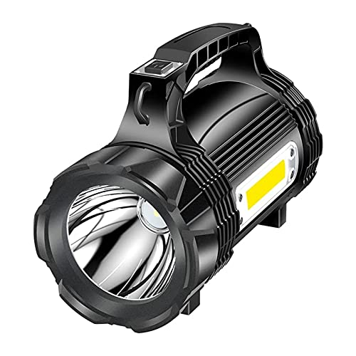 SFLRW Súper brillante Handheld LED Spotlight Linterna Lluvia de búsqueda potente USB RECARGABLE 4 BATERÍA DE 4 BATERÍA DURANTE LUZ DE LUZ DE LUZ ENTRANTE DE POTENCIA POR PORTE CAMPA DE EMERGENCIA