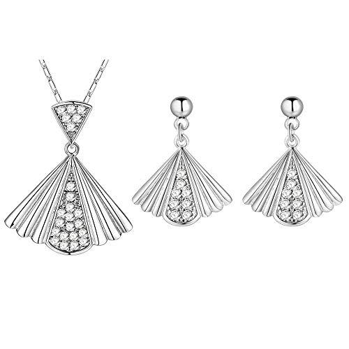Purmy Mujer Conjunto de Joyas Blanco Oro Plateado Collar Aretes Set Plegable...