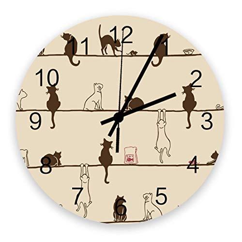 Reloj de pared redondo de madera Lindo gato en la cuerda con ratón de comida y cuenco Silencioso sin tictac, funciona con pilas Reloj de pared silencioso de cuarzo para el hogar, oficina, escuela de 1
