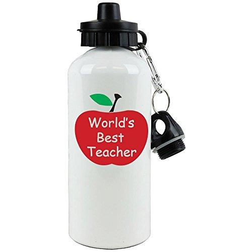 Engraved Cases World's Best Teacher White Aluminum Water Bottle, 20-Ounce (600 ML) Sport Water Bottle with Sports Top, Carabiner