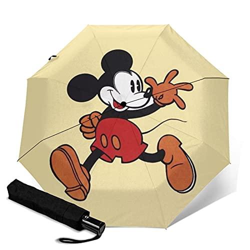 Mickey Cartoon Mouse paraguas triple plegable abre y cierra automáticamente la protección UV de viaje plegable y cómodo transporte
