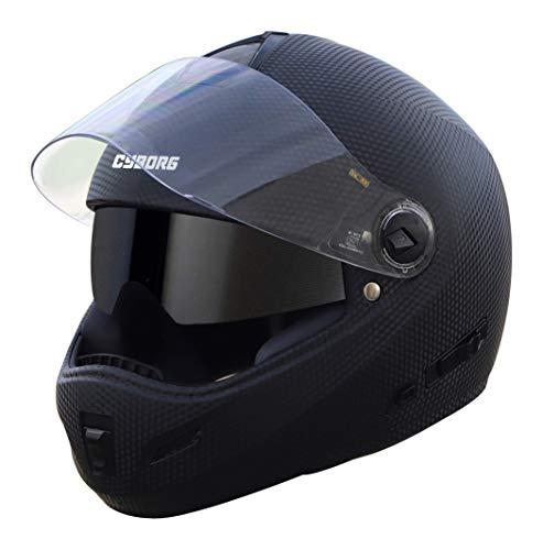 Steelbird Cyborg Double Visor Full Face Helmet, Inner Smoke Sun Shield and Outer Clear Visor (Large...