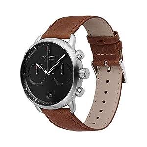 Nordgreen[ノードグリーン] 【Pioneer】 メンズのシルバー の42mm クロノグラフ ブラック 文字盤 ブラウン レザー 腕時計ベルト