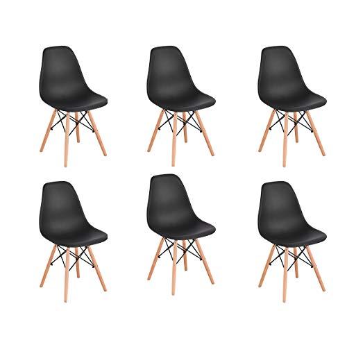 Naturelifestore 6er Set Esszimmerstühle/Lounge-Stühle im Modernen Design, Sitz aus Polypropylen und Beine aus Buchenholz (Schwarz)