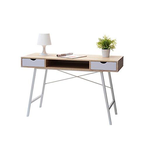 Gavle - Scrivania scandinava/Tavolo minimalista/Tavolino elegante e moderno (120 cm, bianco e quercia Sonoma)