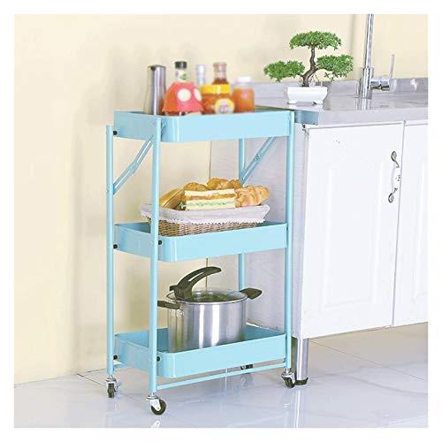 ZYFang 3 Niveles Mueble Auxiliar de Cocina, Plegable Fruteros de Cocina Metal Mueble Auxiliar Cocina con 3 Bandejas de Malla para Cocina Restaurante (Color : Light Blue, Size : 17.7 * 11.6 * 30.3in)