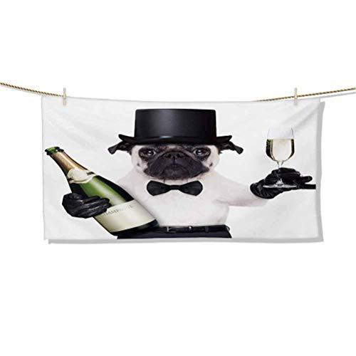 Toallas de Playa Perro de celebración con Botella de champán Mientras Brinda fotografías de Momentos Felices Toallas de baño Grandes con una Toalla de Piscina de Viaje con Flecos