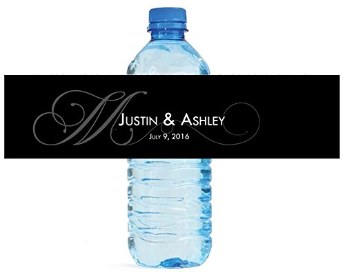"100 Black Monogram Elegant Wedding Anniversary Engagement Party Water Bottle Labels 8""x2"""