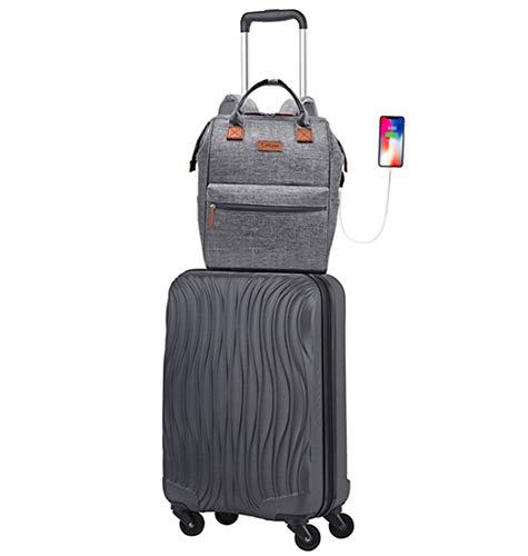 20' Luggage Travel Case 4-Wheel Spinner ABS Carry On Luggage Suitcase (Black) with USB Charging Port with 1 Business Travel Laptop Backpack