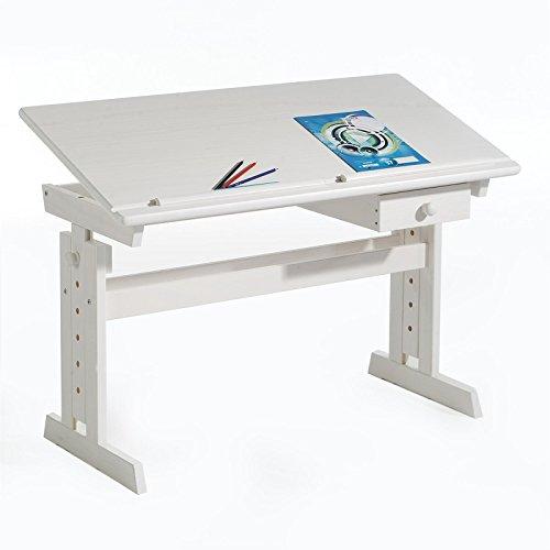 IDIMEX Kinderschreibtisch Schülerschreibtisch Flexi, höhen- und neigungsverstellbar, aus Kiefer massiv weiß lackiert