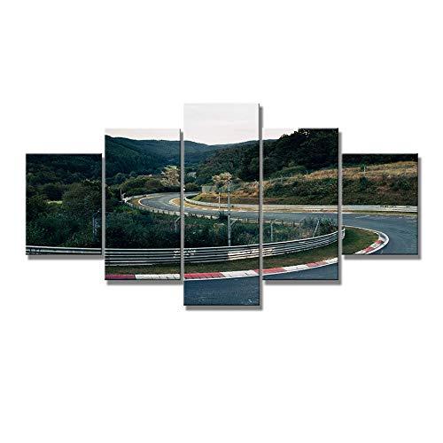 Cuadro en Lienzo Rally de Autos Deportivos,Impresión de 5 Piezas Arte De La Pared Marco Decoración para El Hogar Pintura Imprime Cartel 200x100cm