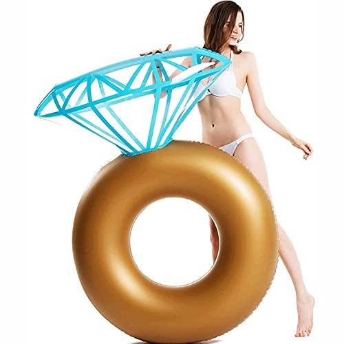 Flotador inflable para piscina con anillo de diamantes, hamaca flotante inflable de agua, fiesta de despedida de soltera de compromiso, balsa de piscina de verano, flotador de piscina enorme, salón, f