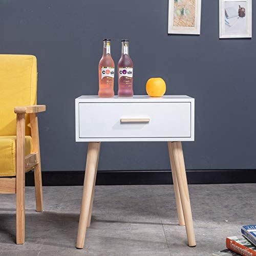 Vanimeu Retro Side Table White Small Coffee Table with Drawer Living Room Wood (White 1 Drawer)